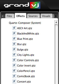 GrandVJ Mac OS X supported compositions